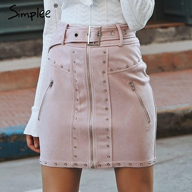 Simplee Suede Front Zipper Mini Skirt Sexy Rivet High Waist Women Skirt Club 2018 Sash Autumn Winter Casual Skirts High Street