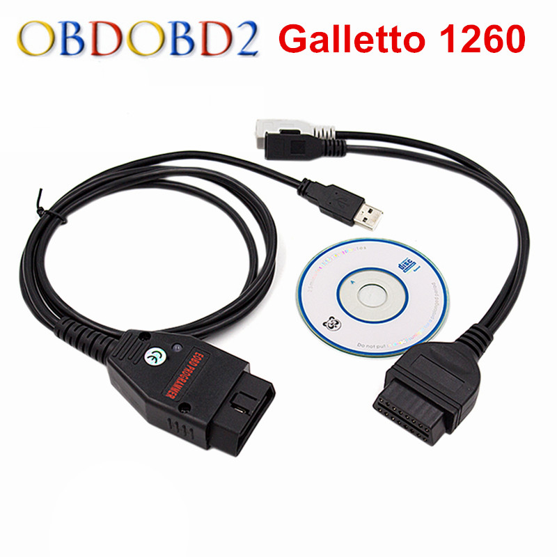 Best Quality Galletto 1260 ECU Chip Tuning Tool EOBD Flasher ECU Flasher Green PCB FTDI FT232RL Read&Write Free Ship