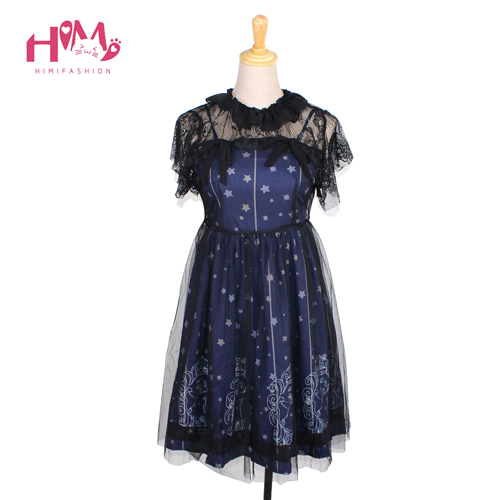Buy Cheap Sky Constellation Gothic Lolita Dress vestidos Dark Blue JSK Veil Tunic Night Angel Pattern Short Sleeve Dresses