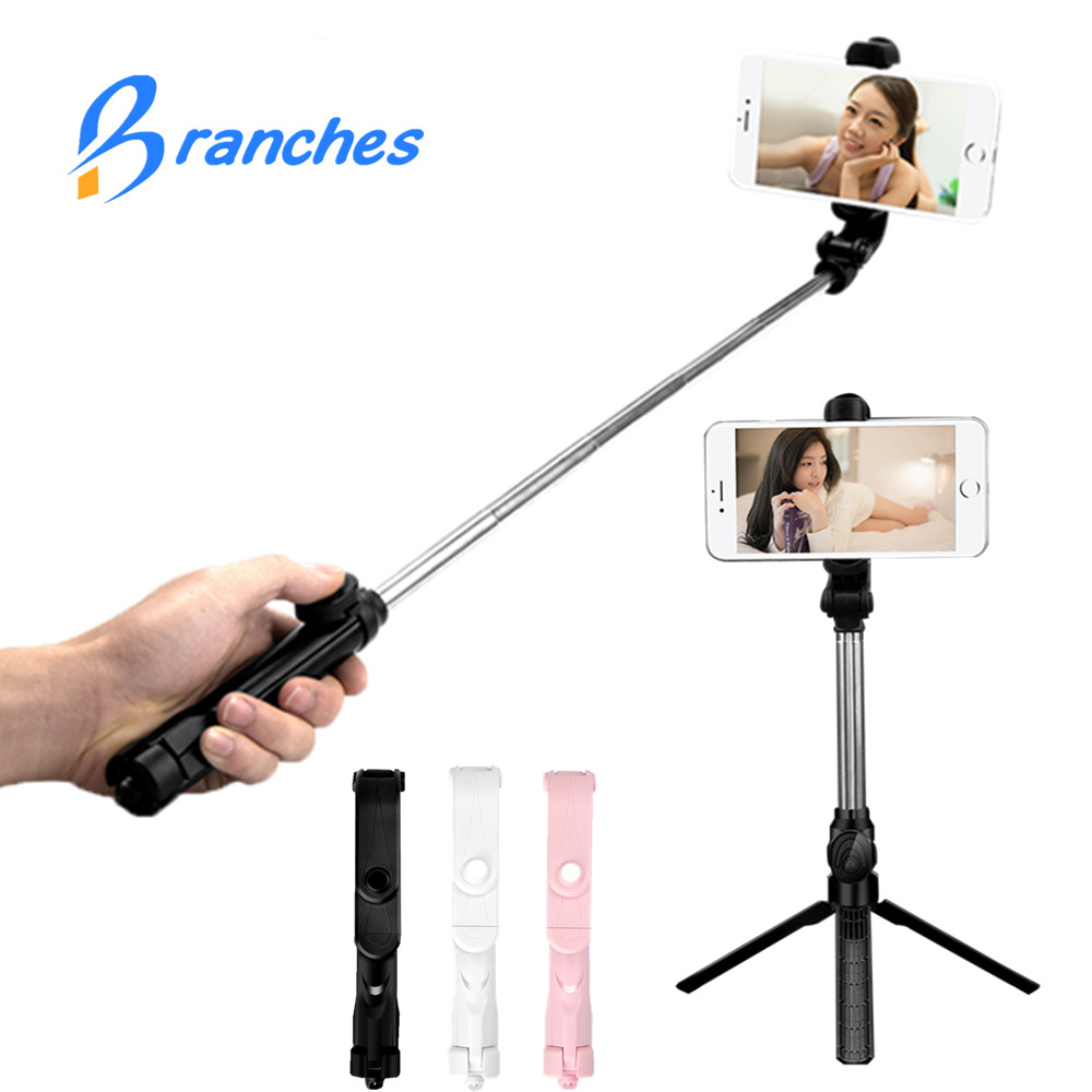 BE80 mi ni Bluetooth pau de selfie Stick + trípode Monopod auto stick bluetooth selfie stick para iphone xiaomi mi Android 7 8 teléfono