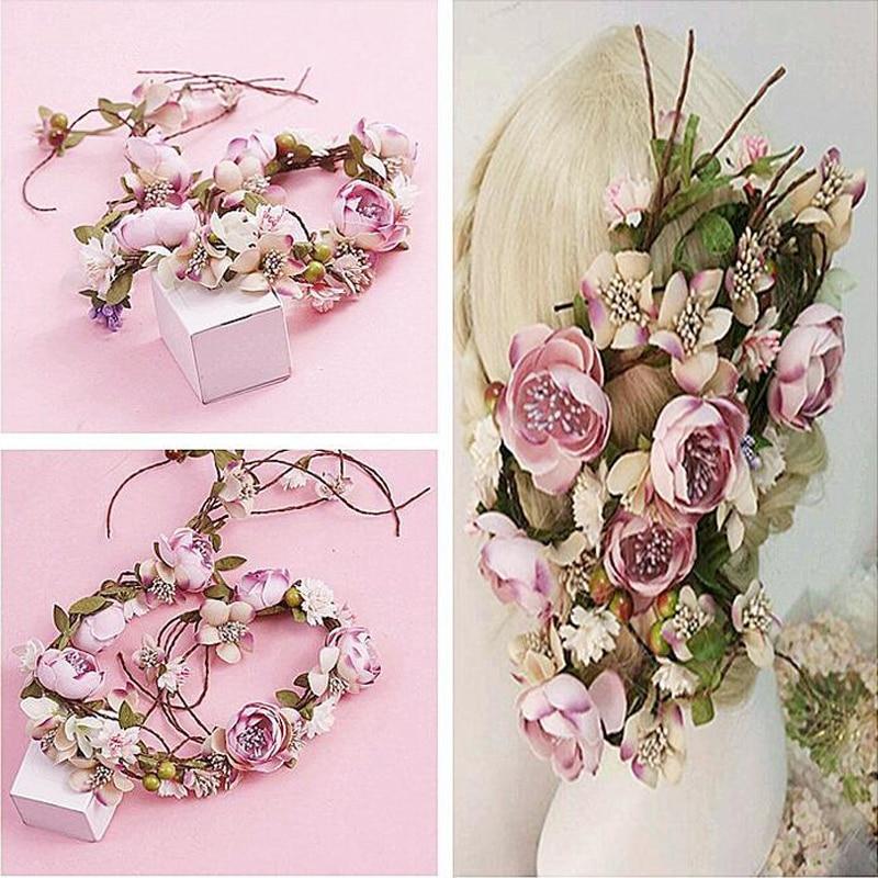 საქორწილო ყვავილების გვირგვინი საქორწილო გაფორმება საქორწილო თმის თავსაბურავი Flower Crown თმის აქსესუარები რეგულირებადი წვეულების ზარაფხანები
