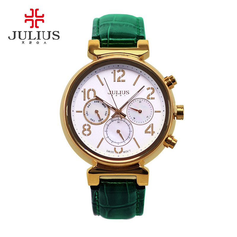 Real Date Functions Women's Watch ISA Quartz Hours Fine Fashion Dress Bracelet Sport Leather Birthday Girl Gift Julius real functions julius shell women s watch isa mov t hours clock fine fashion bracelet sport leather birthday girl gift box