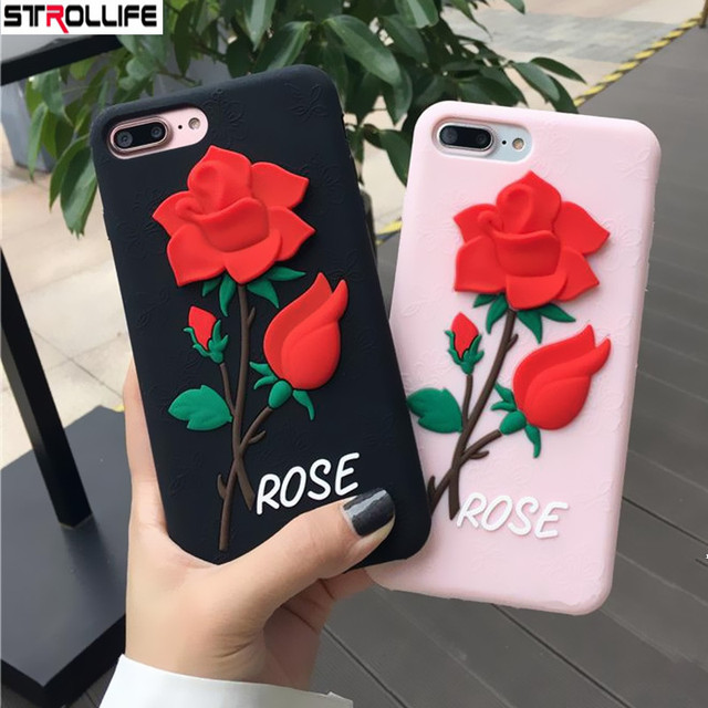 the best attitude a09f1 2911f US $4.89 |STROLLIFE Luxury 3D Red Rose Flower Phone Cases For iPhone 8Plus  case Retro Vintage Floral Soft Silicon Rubber Cover For iPhone8-in Fitted  ...
