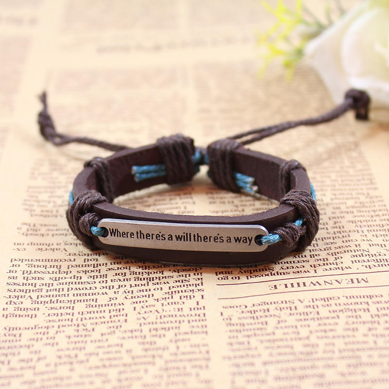 Male Inspirational Motto Bracelet Men S Multi Braided Thin Genuine Leather Gifts Wristband Drop Shipping In Chain Link Bracelets