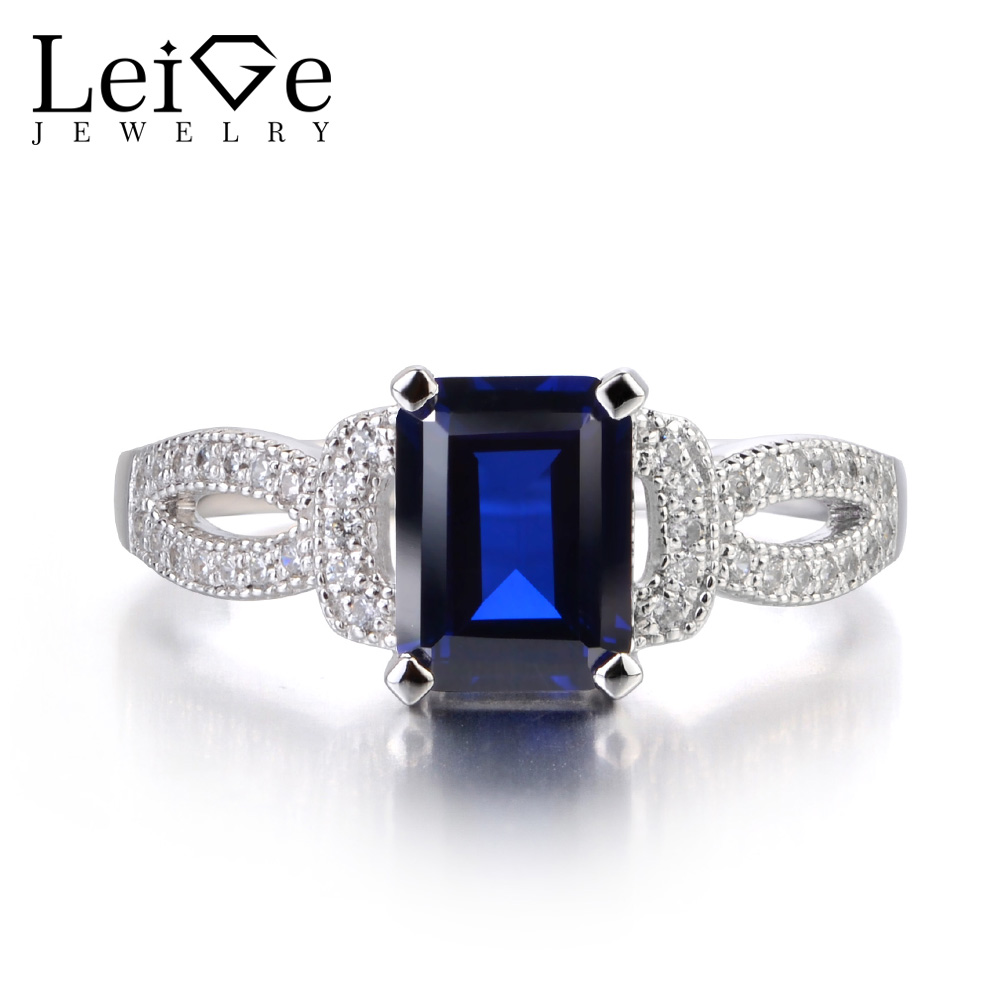 Leige Jewelry Sapphire Rings Sterling Silver 925 Blue Gemstone Engagement Anniversary Rings for Women Fine Jewelry