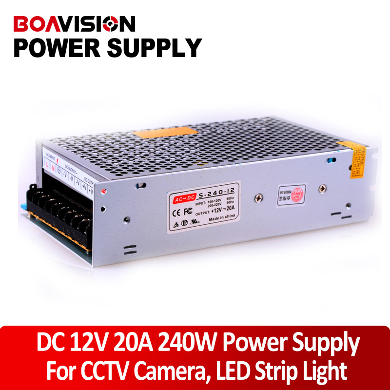 Power supply 12V 20A 240W DC Switching CCTV Power Supply Transformer LED CCTV Camera DVR Security professional switching power supply 120w 12v 10a manufacturer 120w 12v power supply transformer