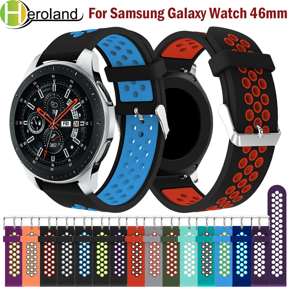 Round Hole Silica Gel  22MM Replacement Adjust Sport Strap For Samsung Galaxy Watch SM-R800 46MM Smart Watchband 2018 Wristband