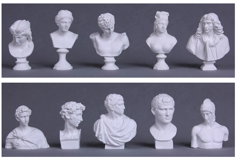 10 pcs set World Famous Statue Mini Figure Moliere Ares Plaster Figure Decoration Resin Bust Sketch