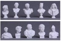 10 stks/set Wereldberoemde Standbeeld Mini Figuur Moliere/Ares Gips Figuur Decoratie Hars Buste Schets praktijk Model Gratis Verzending