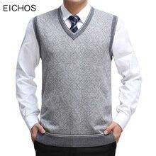 EICHOS, мужской свитер, жилет, шерстяной пуловер, без рукавов, Homm, Повседневный, Вязанный жилет, мужской деловой жилет с v-образным вырезом, мужской вязаный кашемировый жилет