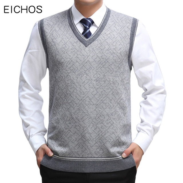 1405303e6a EICHOS Mens Sweater Vest Wool Pullover Sleeveless Homm Casual Knit  Waistcoats Men Business V Neck Vest Male Knitted Cashmere