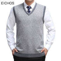 EICHOS Mens Sweater Vest Wool Pullover Sleeveless Waistcoat Casual Business Male V Neck Vest Knitted Cashmere