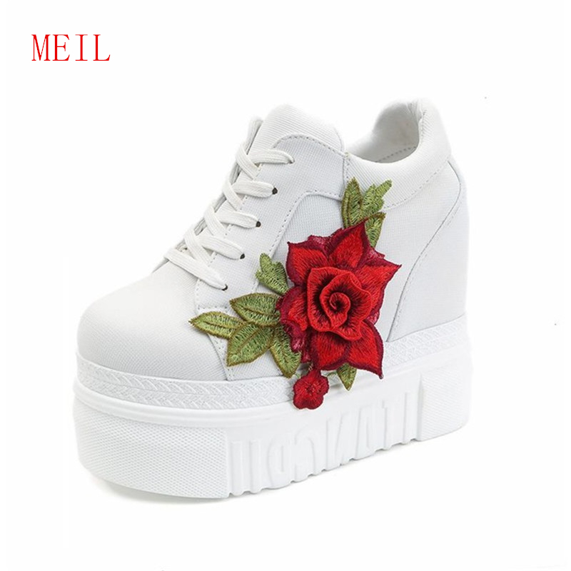 12CM Women Sneakers Fashion Canvas Shoes Height Increasing Breathable Wedges Platform Woman Casual