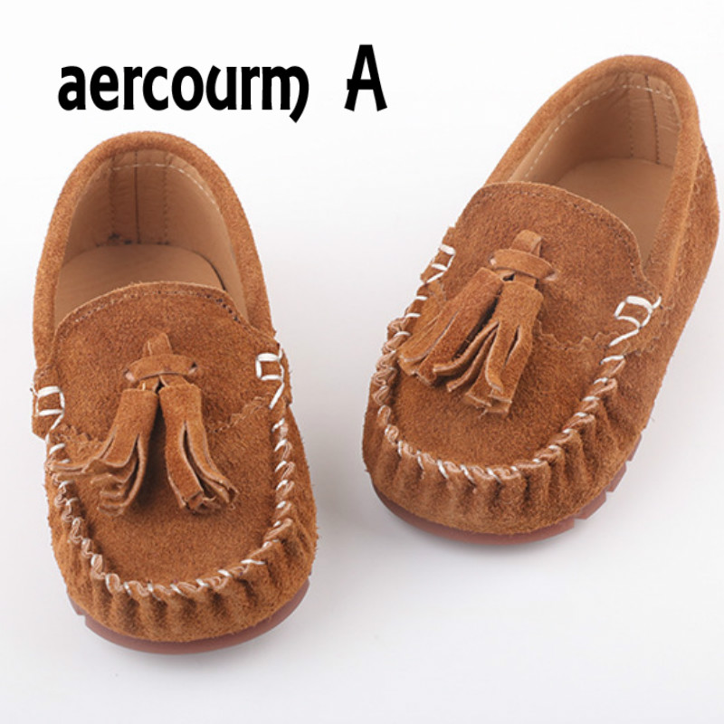 Aercourm A 2017 Spring New Children Shoes Kids Genuine Leathe Boat Shoes Baby Boys Girls Shoes Flat Tassel Bow Casual Sneakers
