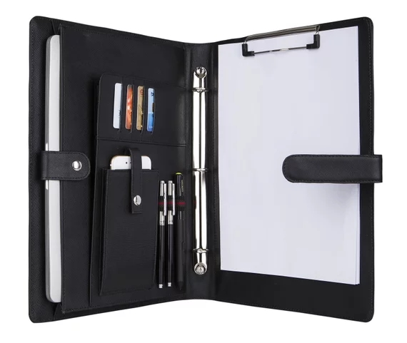 iLooker 3 Ring Binder Portfolio, Genuine Leather Tablet/Laptop Padfolio, Organizer Folder Letter Size Notepad with Clipboard wilson jones view tab professional binder with 5 tabs 1 inch capacity letter size black w55763