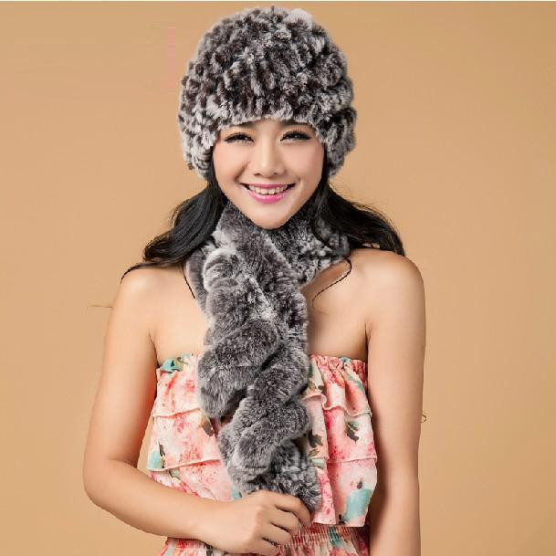 Warm Fur Hat And Scarf Fashion Autumn Winter New Quality Natural Rex Rabbit Fur Beanie Gray Knitted Female Thermal Spiral H318