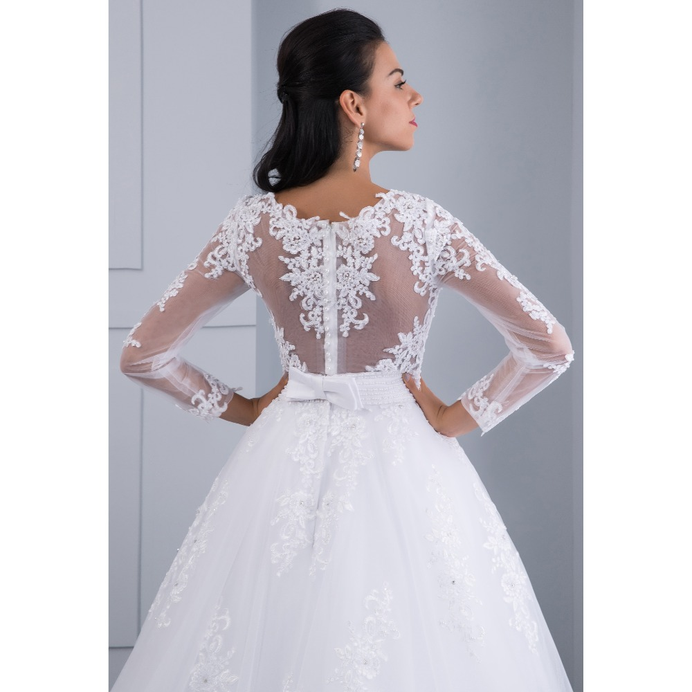 Unique Detachable Train Lace Appliques Pearls Crystal Sashes Ball Gown Wedding Dress