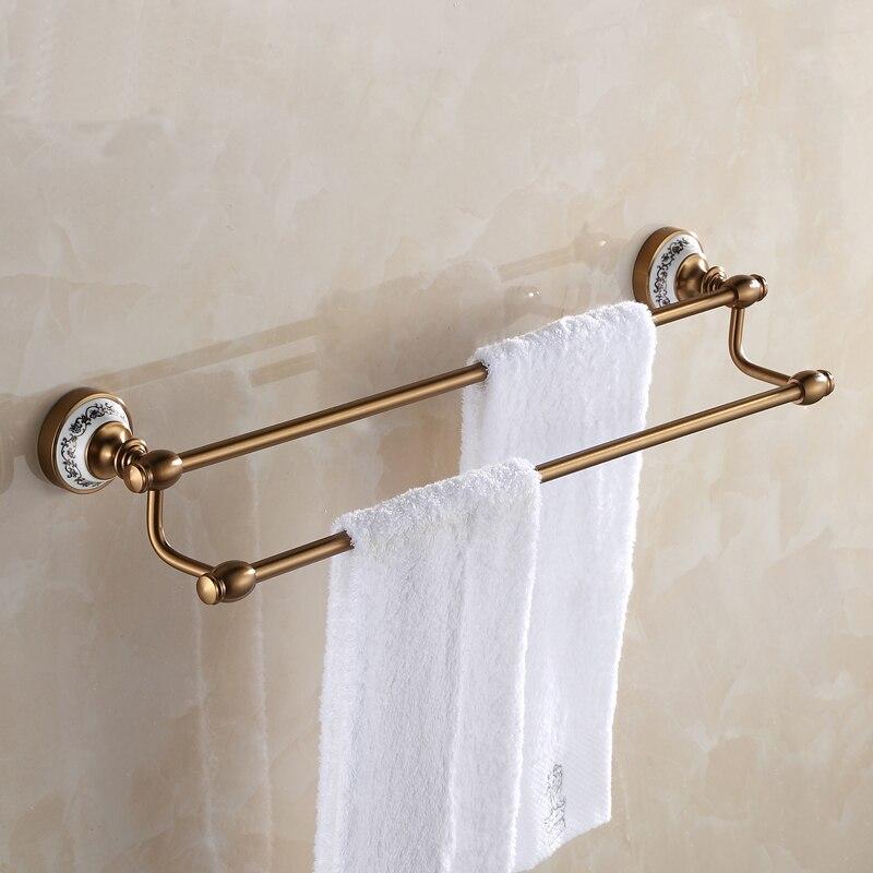 antique european brass double towel bar bathroom towel