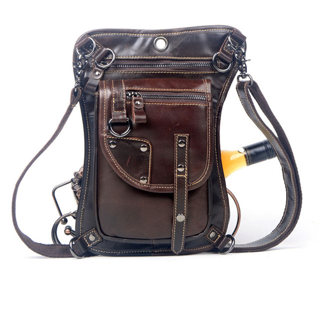 Men's Cowhide Oil Wax Genuine Leather Waist Thigh Drop Leg Bag Messenger Cross Body Shoulder Belt Hip Bum Pack