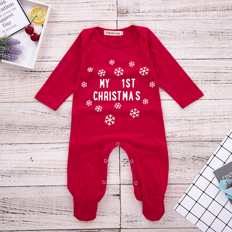 5f7ed5853d24a 2018 My 1St Christmas Romper Baby Onesie Long Sleeve Red Jumpsuits Pajamas  Toddler Infant Girl Boys Clothes Baby Costumes 0-18 M | AMAZINGSTORE4U