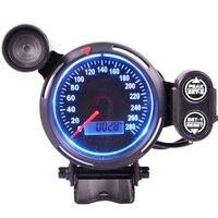 80mm Speedometer Gauge Tach 280 MPH Boat Car Gauge Blue Light fit Universal Speed Gauge motorcycle tachometer car tuning auto