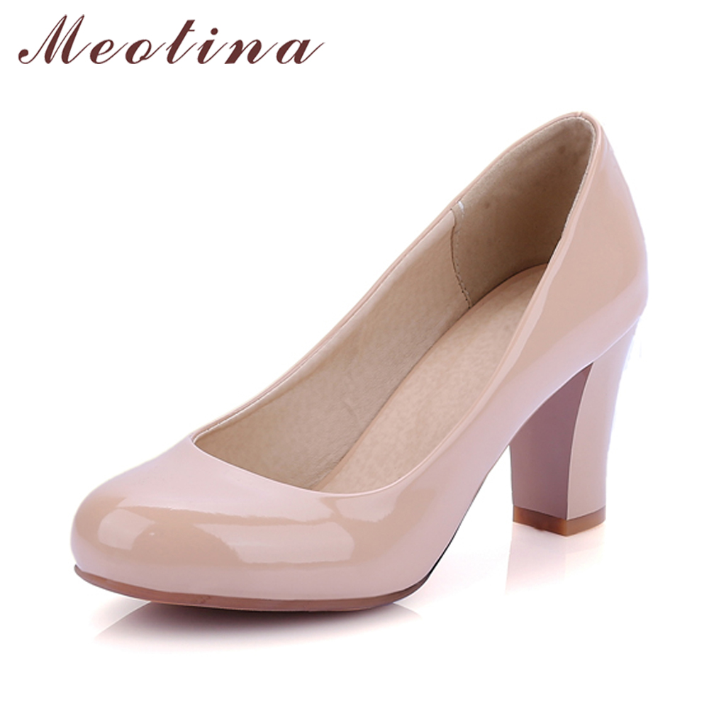 Meotina High Heels Shoes Women Large Size 34-43 Round Toe Patent Leather Square Heel Pumps Office Lady Work Shoes Red Apricot цены