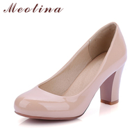 Large Size Women Shoes Thick High Heels Round Toe Dress Pumps High Quality Ladies Shoes White