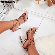 TINGHON Sexy Sandals Summer Shoes Thin High Heels Peep Pointed Toes Woman Wedding Shoes Ankle Strap  Leopard Zebra Shoes shoes wedding pu sexy shoes adornment sexy nubuck leather mature woman shoes ankle wrap flock daily best seller thin high heels