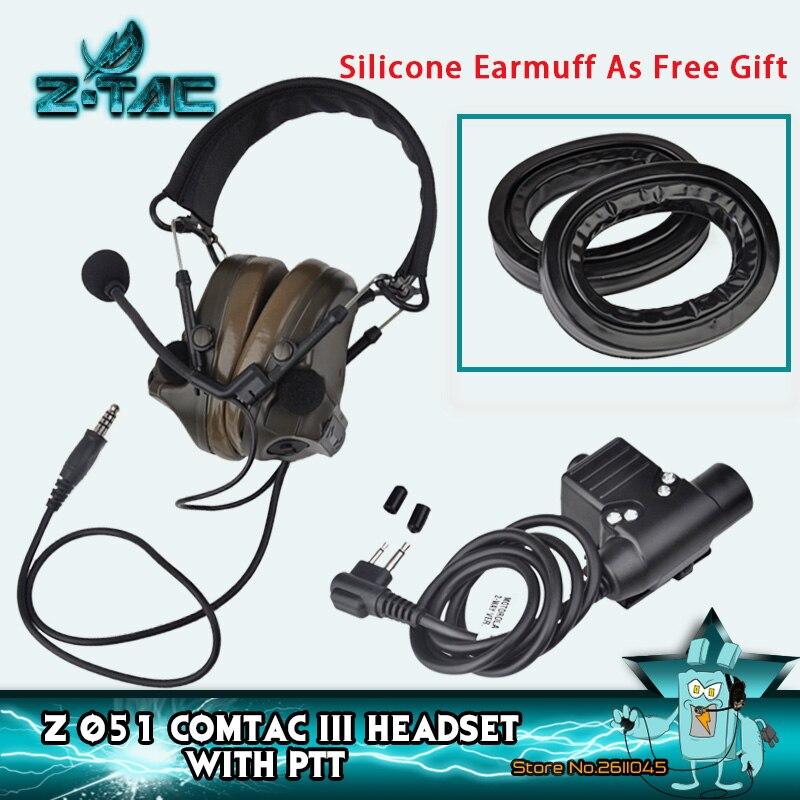 Z-tac Softair Peltor Comtac Iii Militaire Tactische Headset + U94 Ptt Actieve Ruisonderdrukkende Tactical Shooting Heaphones Z051 Z113