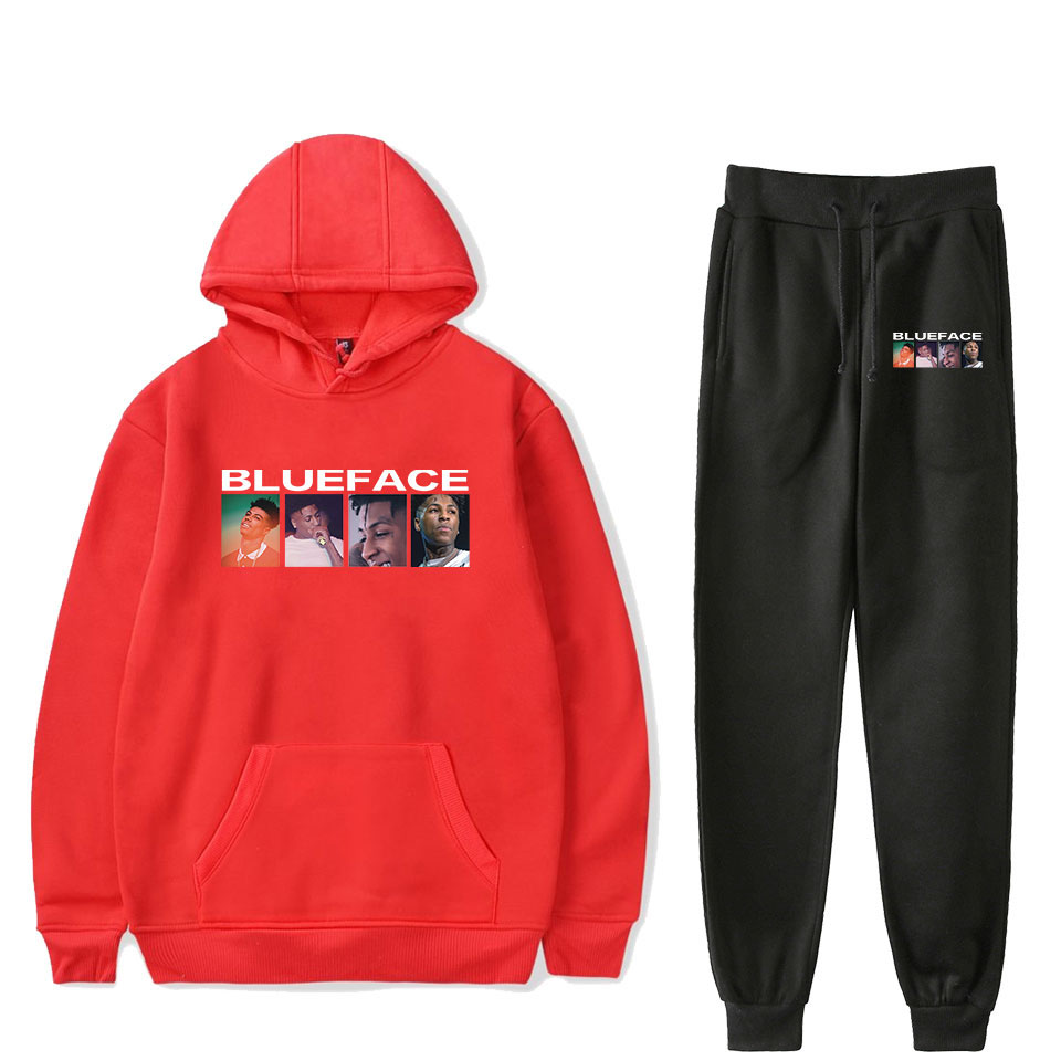 Popular BlueFace Women/Men Red Hoodies Sweatshirts+black Recreational Sweatpants Comfortable Autumn Sport And Leisure Suits