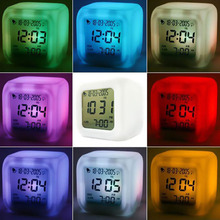 multi-function led 7 color glowing change digital glowing alarm thermometer clock cube