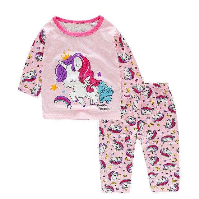 SAILEROAD Children's Unicorn Pajamas Set Kids Pajamas Baby Girl Spring Autumn Pyjamas Pijama Infantil Kids Sleepwear Clothes Set