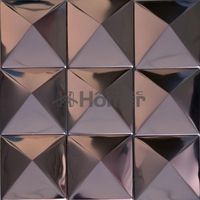 free shipping, big tile rose golden stainless steel metal mosaic tile purple metal mosaic pyramid design 3D