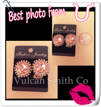 Gold Plated Crystal Clip Earrings without Piercing