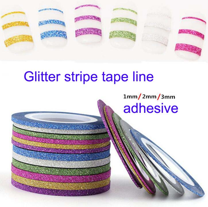 1mm/2mm/3mm 6Rolls Glitter Striping tape Nail Art Lines Manicure Stickers decal decoration Washi tape For Polish Gel, (6colors) born pretty 13 rolls 1mm matte glitter nail striping tape line manicure multi color nail art decoration adhesive stickers