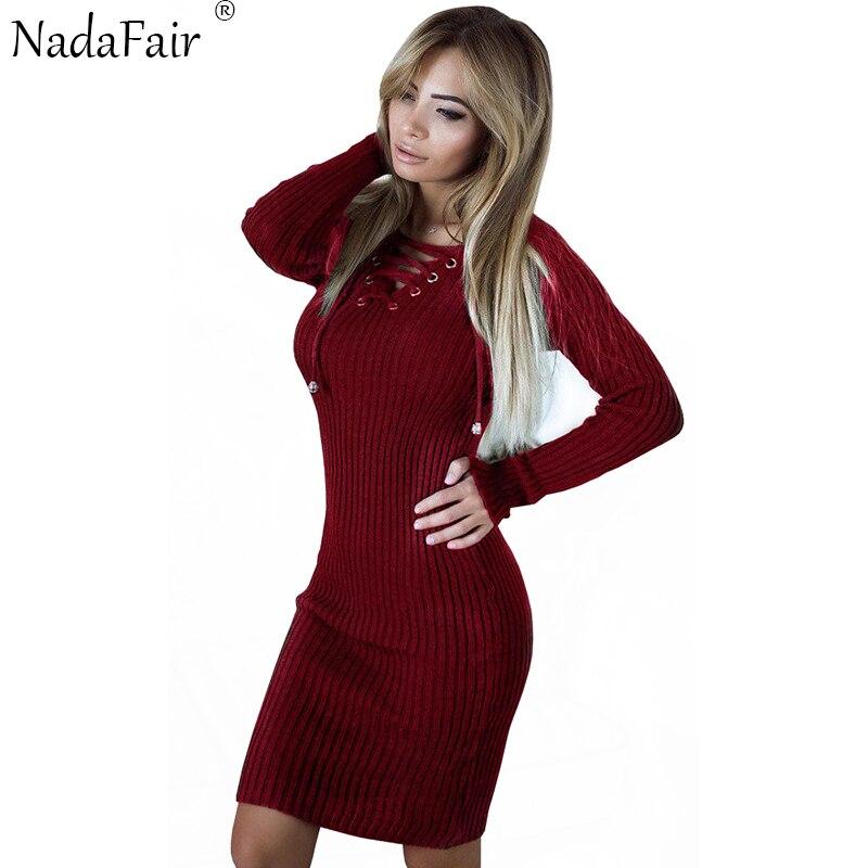 ForeFair Women Long Sleeve Knitted Autumn Winter Dress Black White Sheath V-neck Lace-Up Sweater Dress Plus Size alex evenings new black white women s size 8 ruched lace sheath dress $200