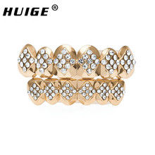 Hot Selling Rose Gold Tone Top & Bottom Teeth Grills Set Hip Hop High Quality Square Style Three Rows Simulated Diamonds Grills