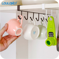 6 Hook Under Shelf Mugs Cups Storage Kitchen Storage Rack Mutifunctional Hook Hanger Organizer For Closet