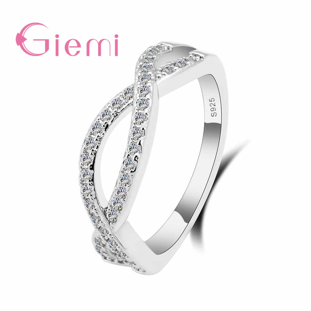 Giemi Sparkling Cubic Zircon Stone Paved Wedding Bands Ring Popular 925 Sterling Silver Engagement Lady Finger Ring