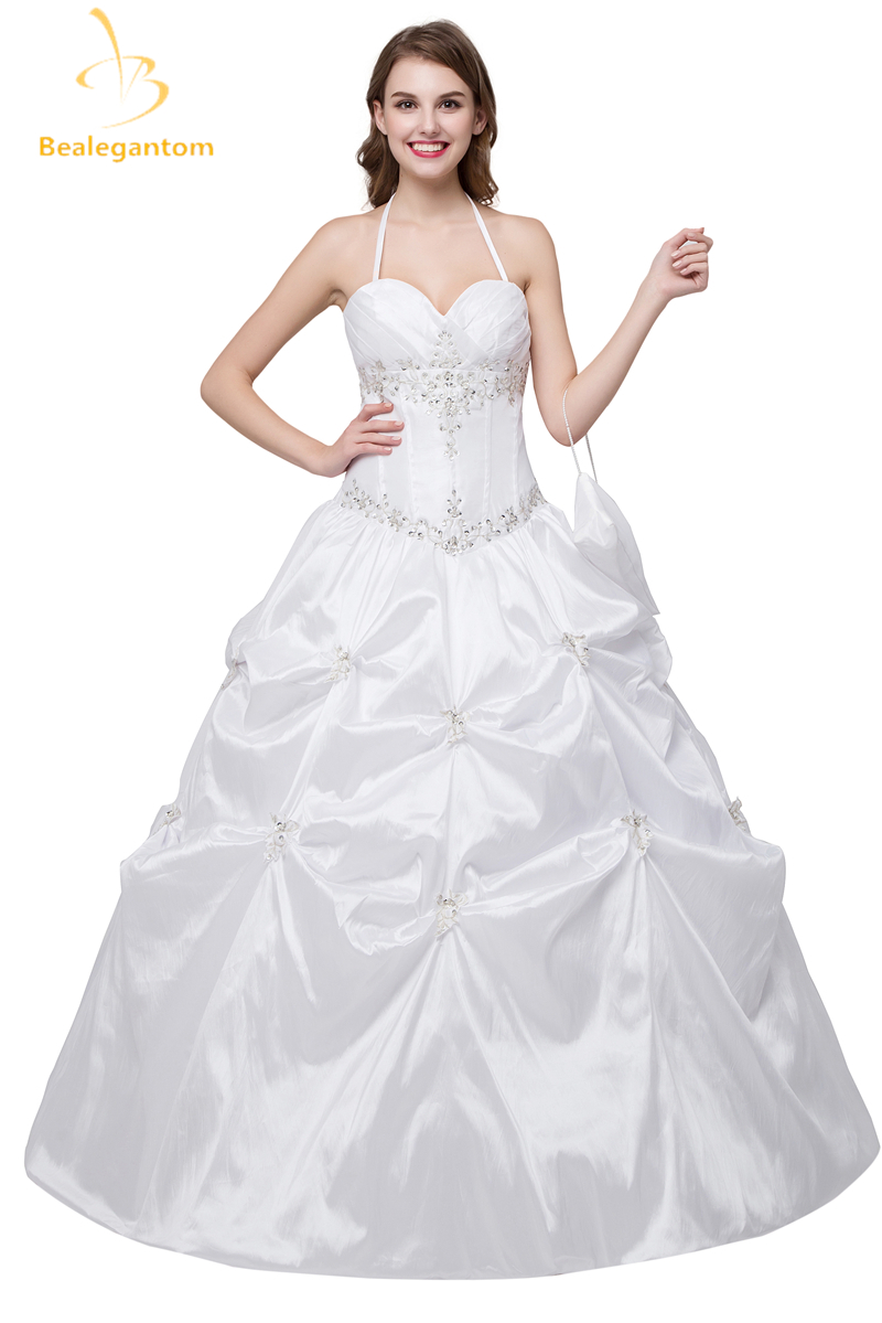 Bealegantom New White Ball Gown Wedding Dresses 2018 Appliques Taffeta Beaded Bridal Gowns Stock 2-4-6-8-10-12-14-16 QA1000