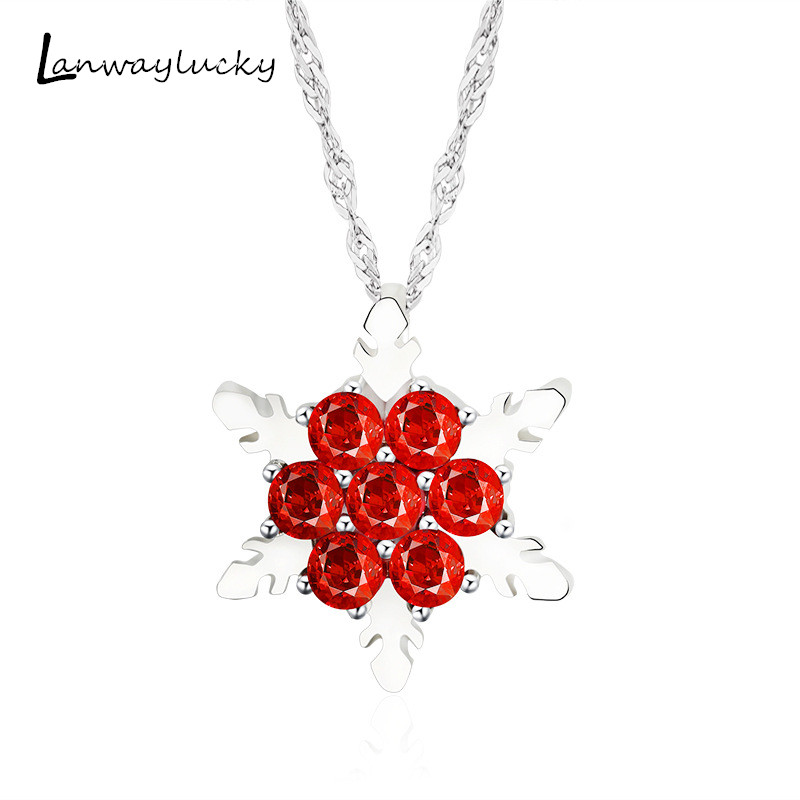 Length51cm Snow Flower Pendent Necklace For Christmas Party Gifts Women Costume Jewelry Charm Gift Rhinestone Chain Necklace