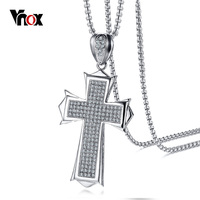 Vnox Punk AAA CZ Stones Large Cross Pendant For Men Necklace Top Quality Stainless Steel 24