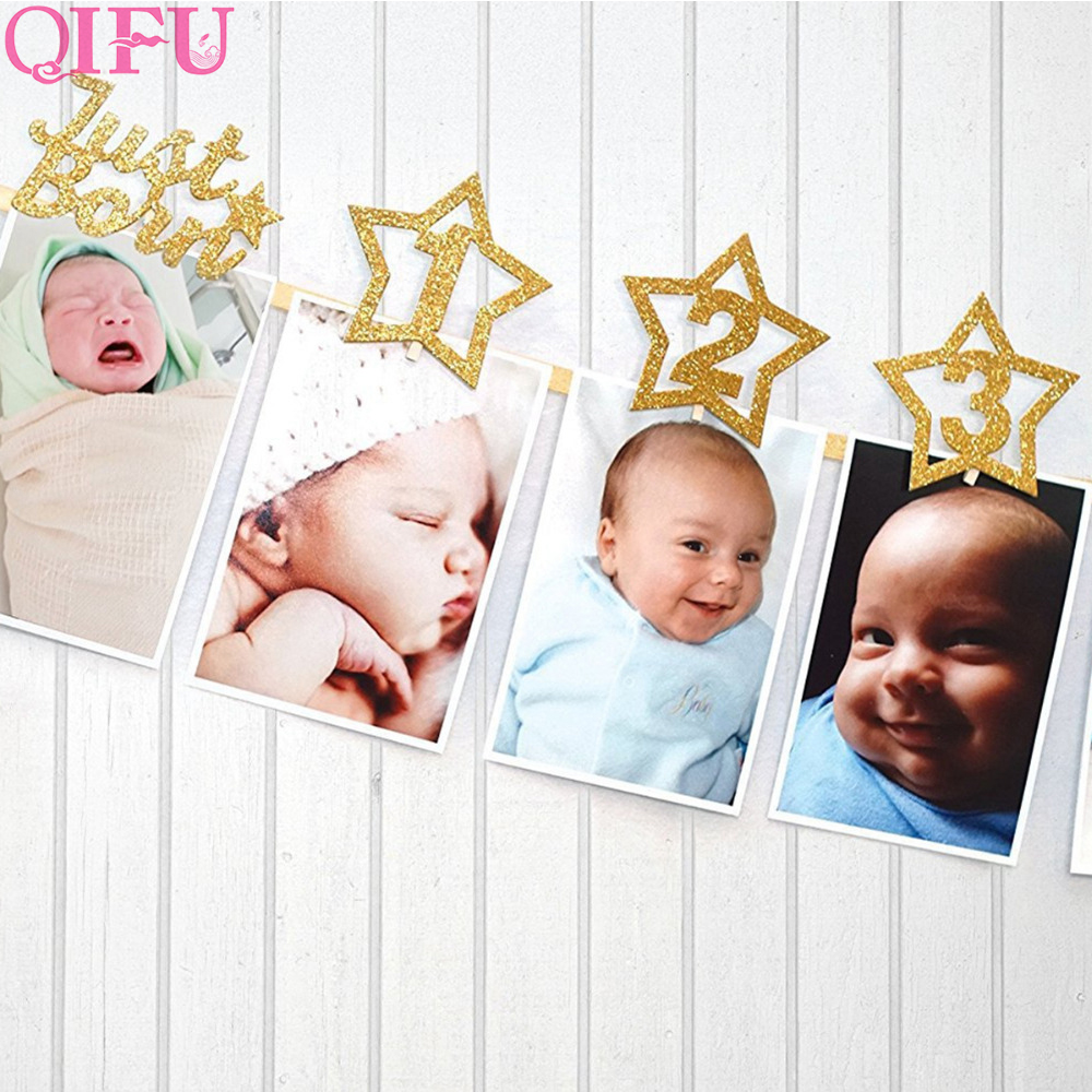 Hot Sale Qifu 12 Months Photo Banner Baby Girl First Birthday Party