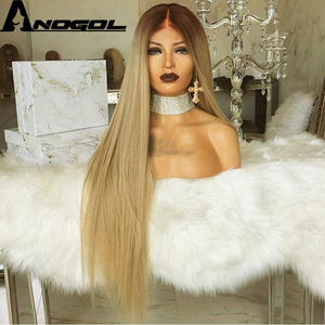 Image 5 - Anogol High Temperature Fiber Peruca Long Straight Synthetic Hair Wig Brown Ombre Ash Blonde Swiss Lace Front Wigs for Cosplay
