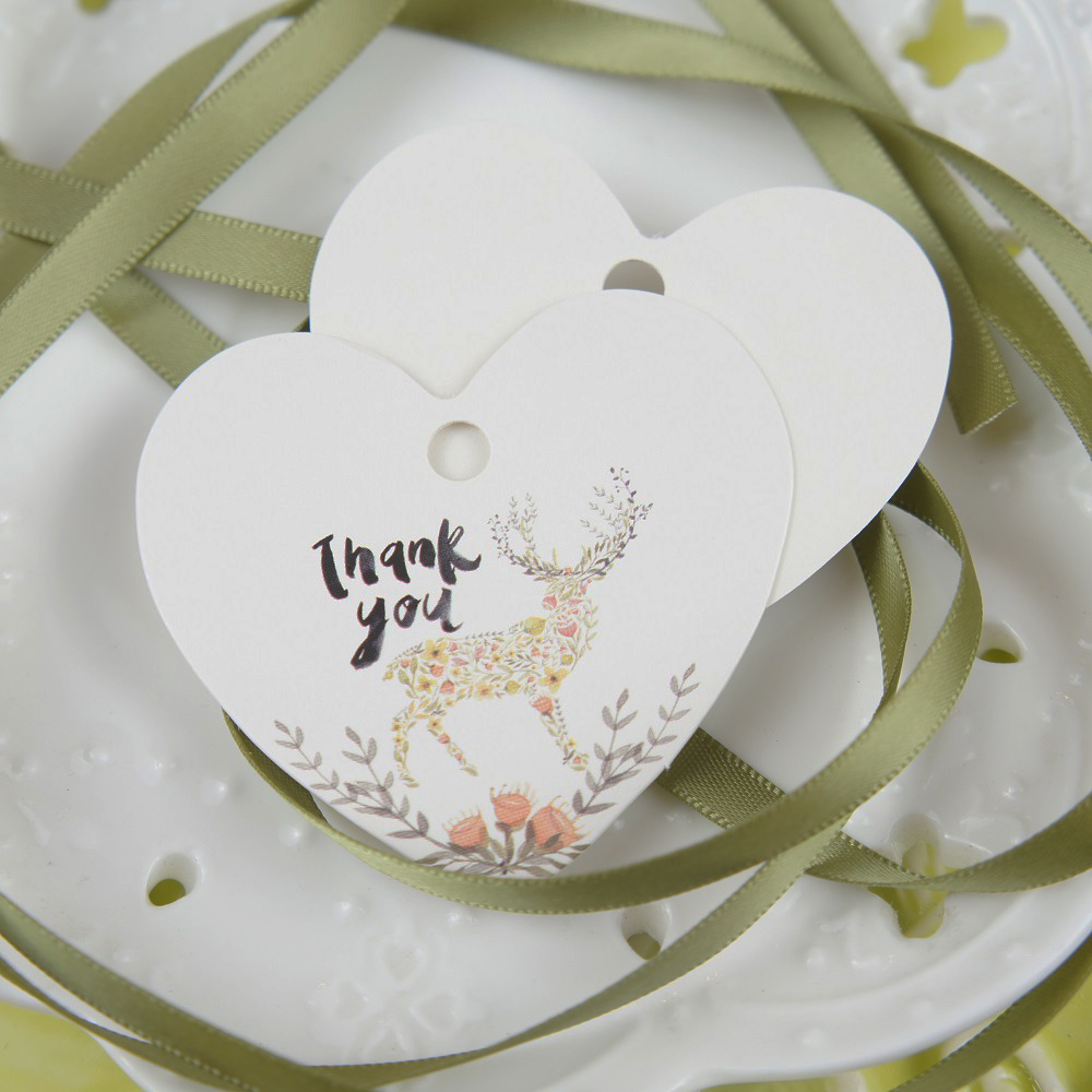 thank you 50pcs deer made of flower design paper labels packaging decoration tags as wedding gift tag DIY Scrapbooking