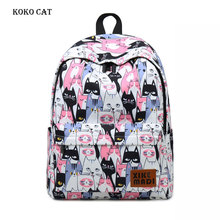 Women Casual Canvas School Backpack Travel Leisure Laptop Rucksack for Girls Animal Cat Printing Female BookBags Mochilas Mujer 2018 women canvas lovely cute cat printing backpack girls casual school bag ladies travel rucksack bookbags mochila bags