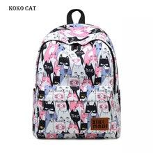 купить Women Casual Canvas School Backpack Travel Leisure Laptop Rucksack for Girls Animal Cat Printing Female BookBags Mochilas Mujer дешево