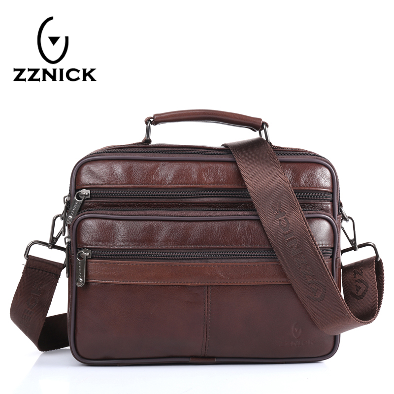ZZNICK Men messenger bags luxury genuine leather men bag designer high quality shoulder bag casual zipper office bags for men