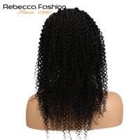 Rebecca 360 синтетический Frontal шнурка волос Парик предварительно сорвал бразильский странный вьющиеся волосы Remy человеческие волосы 360
