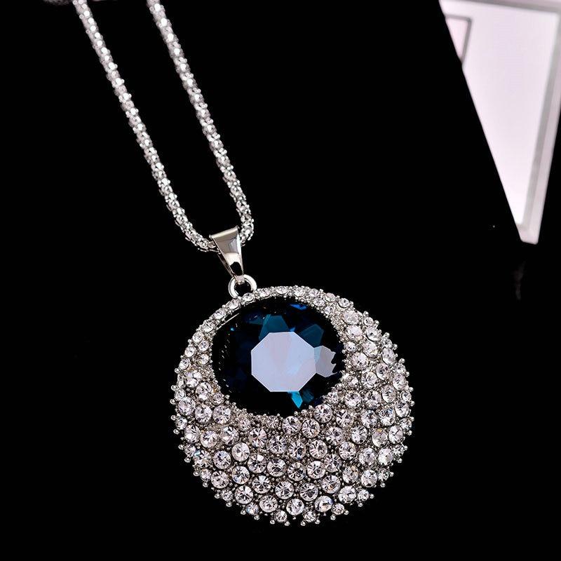 Vintage Blue Crystal Duga Ogrlica Žene Bijoux Modni Nakit Ogrlice & - Modni nakit - Foto 3